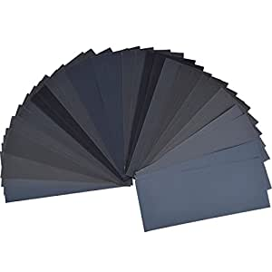 36 Pieces 400 to 3000 Grit Sandpaper Assortment, Dry/ Wet, 9 x 3.6 Inch, for Automotive Sanding, Wood Furniture Finishing and Wood Turning Finishing