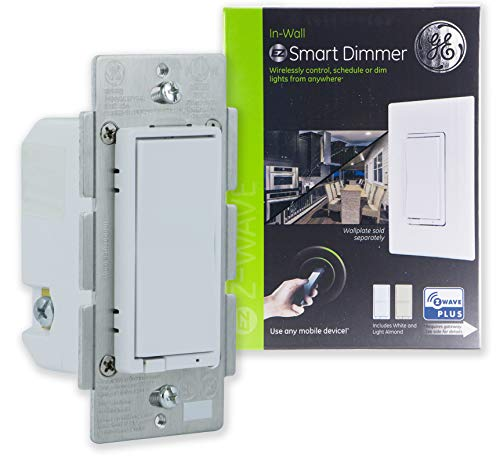 (GE Enbrighten Z-Wave Plus Smart Dimmer Switch, Full Dimming, In-Wall, Incl. White and Lt. Almond Paddles, Repeater/Range Extender, Zwave Hub Required, Works with SmartThings, Wink, Alexa, 14294)