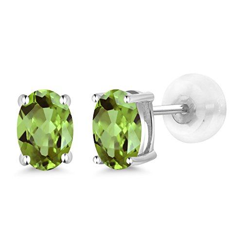 Gem Stone King 1.00 Ct Oval 6x4mm Green Peridot 14K White Gold Stud Earrings