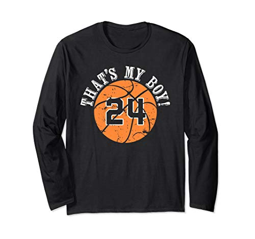 Unique That's My Boy #24 Basketball Player Mom or Dad Gifts Long Sleeve T-Shirt