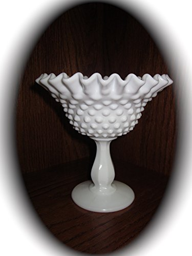 Fenton Milk Glass Hobnail Pedestal Ruffled Compote Candy Dish (6