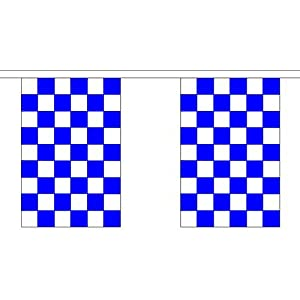 Royal Blue & White Checkered Bunting 9M Long - 30 Flags Football Chelsea Check by Royal Blue/White Checkered