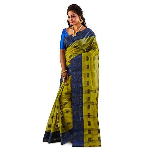 SareesofBegal Women's Handloom Jamdani Cotton Tangail Bengal Tant Olive Green Saree Indian Ethnic Wedding Gift Saree