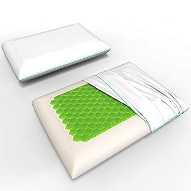 Equinox Memory Foam Pillow - 24x16 inches, Standard/Queen Size Bed Pillow - New Cooling Gel Technology with Removable Pillow Case - Dust Mite Resistant and Hypoallergenic