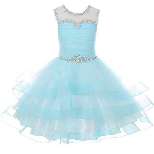 CrunchyCucumber Big Girls Layered Organza Rhinestones Dresses with Illusion Neckline and Corset Back Aqua - Size 12