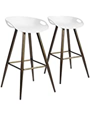2Pcs/Set Pub Bar Stools, FurnitureR 27.6 Inch Low Back, Retro Design Metal Round Seat Stool, Indoor Outdoor Barstools for Kitchen and Dining Room,Easy to Assemble,White Seat with Brown Leg