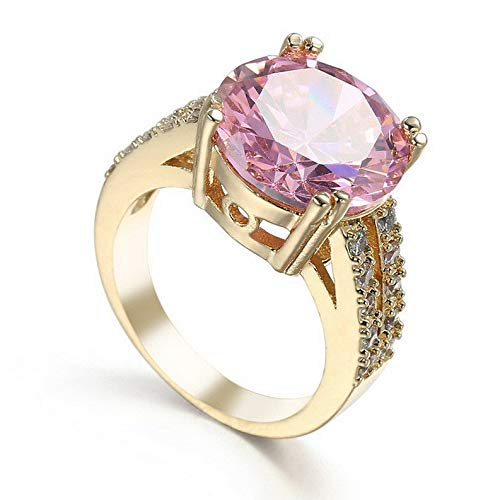 Endicot Pink Round Cut Band Womens 14kt Yellow Gold Fil Engagement Ring Size 6-10 | Model RNG - 32307 | 7 ()