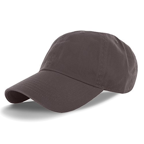 Plain 100% Cotton Adjustable Baseball Cap Brown, One Size - 100% Cotton Cap