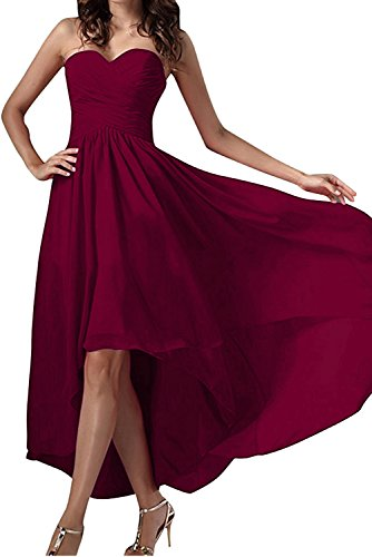 Herzform Festkleid Partykleid Chiffon Ballkleid Weinrot Damen Abendkleider Einfach Ivydressing qSpaEOwv