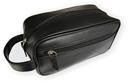 - Travel Toiletry Bag/Shave Kit For Men or Women. One large Zippered Pocket For Larger Items and One Side Pocket For Smaller Items. By Mirror On A Rope (Black)