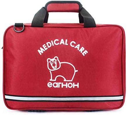 オフィス、家庭、車、学校、緊急、サバイバル、キャンプ、狩猟、スポーツ用のコンパクトな救急キットバッグ緊急サバイバルバッグ, Red