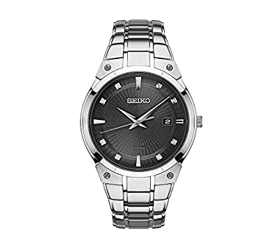 Seiko Men's Solar Silvertone Watch With Diamond Accents