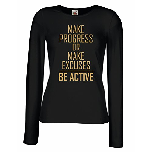 """- T Shirt Women """"Be Active - Living with no Excuses""""– Motivational - Daily Inspirational Quotes for Success (Large Black Gold)"""