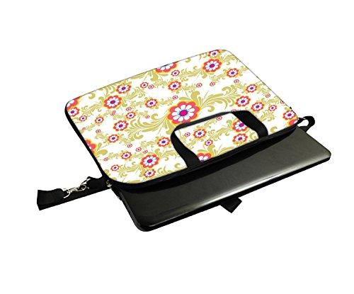 Snoogg weiß creme Muster 30,5cm 30,7cm 31,8cm Zoll Laptop Notebook Computer Schultertasche Messenger-Tasche Griff Tasche mit weichem Tragegriff abnehmbarer Schultergurt für Laptop Tablet PC Ultrabo