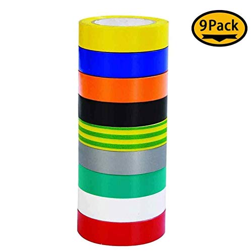 (9 Roll Multicolor Electrical Tape, Maveek 0.67 Inch 65.62 Feet Utility PVC Insulation Tape Adhesive Duct Tapes, Work Great for Waterproof, Flame Retardant, Cold Resistance and Non-Conductive(9)