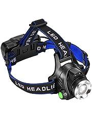 Sensor Stirnlampe LED Wiederaufladbare Kopflampe, 3 Modi Wasserdichte 90º Verstellbar Zoomfähig USB Ladung Headlight Ideal als für Joggen, Campen, Laufen, Reperatur