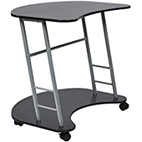 Office Star Kool Kolor Computer Desk with Powder Coated Steel Frame, Jet Black Finish
