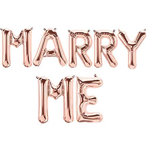 Tellpet Marry ME Balloons, Proposal Decorations, Rose Gold, 16 Inch