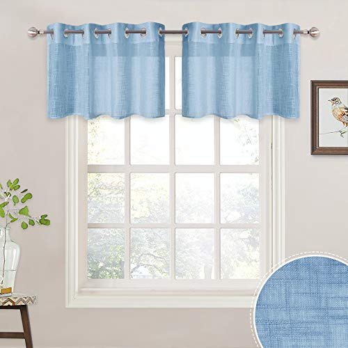RYB HOME Linen Textured Semi Sheer Valance Set, Short Drapes for Cafe/Kitchen/Nursery Small Window Decor, 52 inch Wide by 18 inch Long Per Panel, 2 Panels, Baby Blue