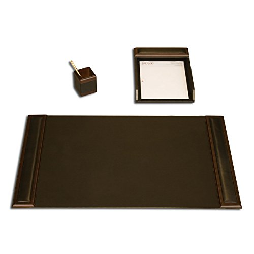 Dacasso Walnut and Leather Desk Set, 3-Piece by Dacasso