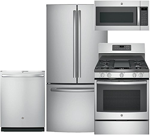 Range JB655SKSS 30Freestanding Elec D//W in Stainless Steel GE 4 pcs Kitchen Package with GNE25JSKSS 33 fridge JVM6175SKSS 30 Over the Rage Micorwave Oven and GDT655SSJSS 24Built In Fully Integ