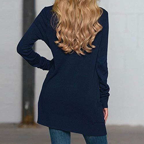 Giacca Homebaby Maglione A Donna Donna Elegante Delle Maglia Elegante Invernale Manica Cappotto Blu Del Lunga Casuale Cardigan Donna Cappotto Manicotto Autunno rdrqtwSxn