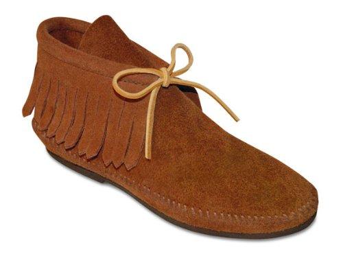 Minnetonka Women's Classic Fringe Boot,Hardsole Brown,6.5 M (Suede Hardsole Moccasins)