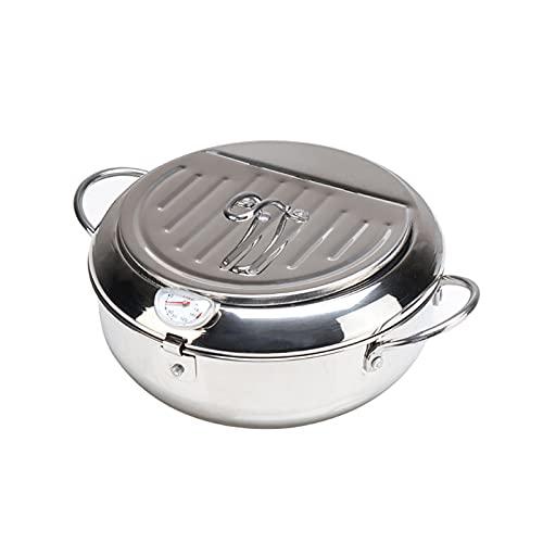 Deep Fryer Pot, Tempura Fryer Pan Uncoated Fryer, Stainless Steel Cookware,with Lid Oil Strainer Rack Beak,Non-Stick,for…