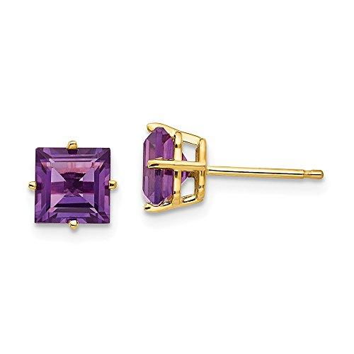 (14K Yellow Gold 6mm Princess Cut Amethyst Stud Earrings)