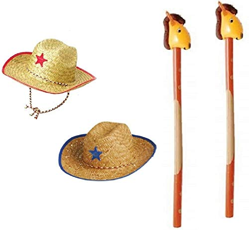 Novelty Treasures Costume Play Set Child Western Cowboy Hat and Riding Stick Horse Inflate (2 Sets) -