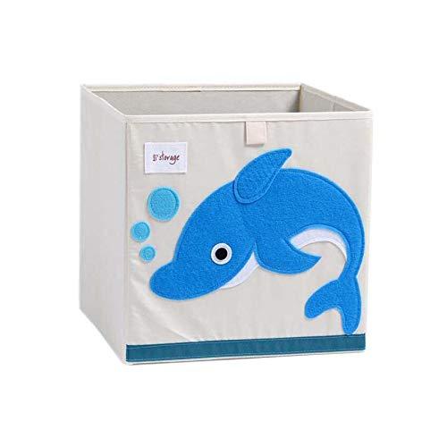Vmotor Foldable Animal Canvas Storage Toy Box/Bin/Cube/Chest/Basket/Organizer for Kids, 13 inch(Dolphin)