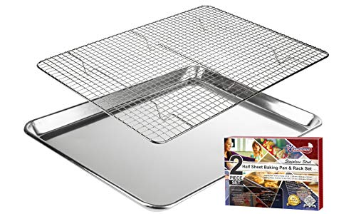 Baking Sheet with Cooling Rack: Half Cookie Pan Tray with Wire and Roasting Rack - 13.1