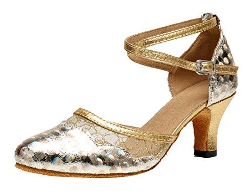 Tda Dames Comfort Hak Gesloten Teen Glitter Synthetisch Modern Tango Latijns Dans Trouwschoenen Goud