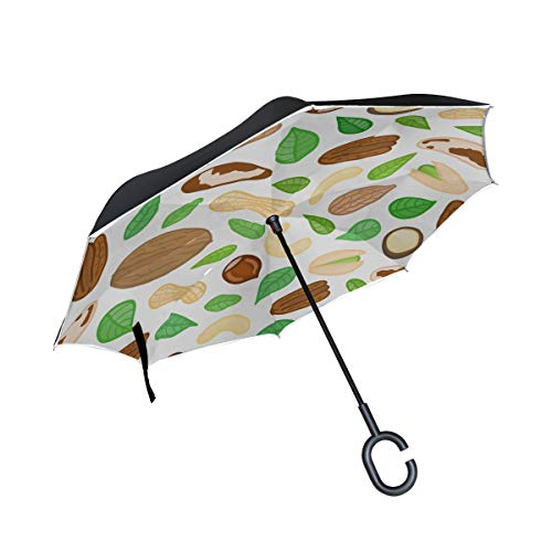 Peanut Little Beans Daily Food Double Layer Folding Anti Uv Protection Waterproof Windproof Straight Cars Golf Reverse Inverted Umbrella Stand With C-shaped Handle For Car Rain Outdoor ()