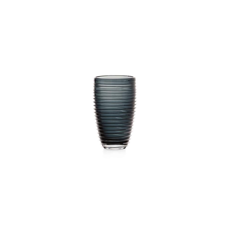 Torre & Tagus Sia Ribbed Glass Short Vase, Smoke Gray