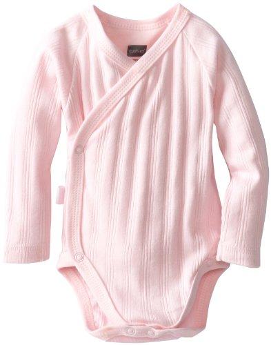 Kushies Unisexbaby Newborn Everyday Mocha Layette Wrap Long Sleeve Bodysuit, Pink, 6 Months