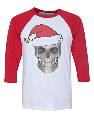 Unisex Christmas Skull B1468 White/Red C5 3/4 Sleeve Baseball T-Shirt Small ()