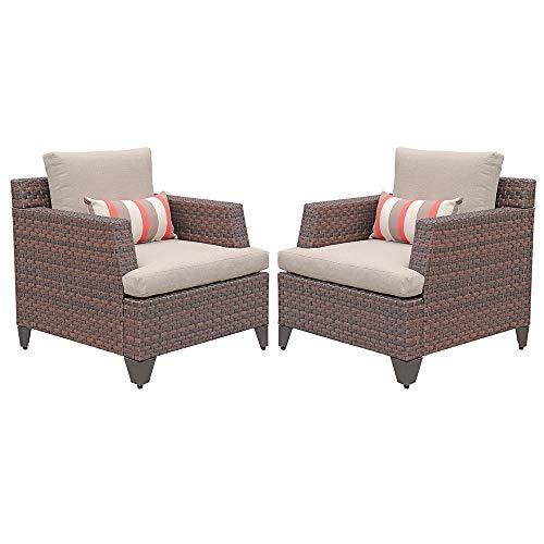 SUNSITT 2-Piece Brown Wicker Single Club Chairs Patio Outdoor Furniture w/Beige Olefin Cushions & Striped Throw Pillow