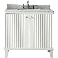 Martha Stewart Living Parker 36 in. W x 22 in. D Vanity in White with Marble Vanity Top in White with White Basin