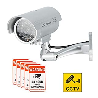 Dummy Camera CCTV Surveillance System with Realistic Simulated LEDs, findTop Fake Security Camera with 6 Pcs Warning Security Alert Sticker Decals