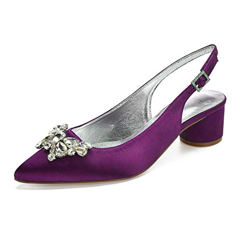 tin Pointed Toe Slingback Butterfly Rhinstones Dressing Pumps Purple ()