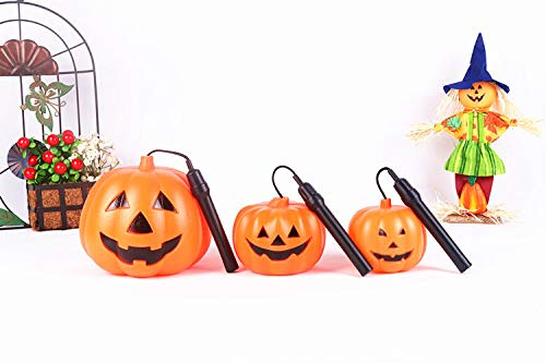 JX Lecal 3pcs Halloween Pumpkin Lantern , Party Halloween Portable LED Battery Operated Flash lamp Lantern Halloween Party Home Decoration Jack-O-Lantern