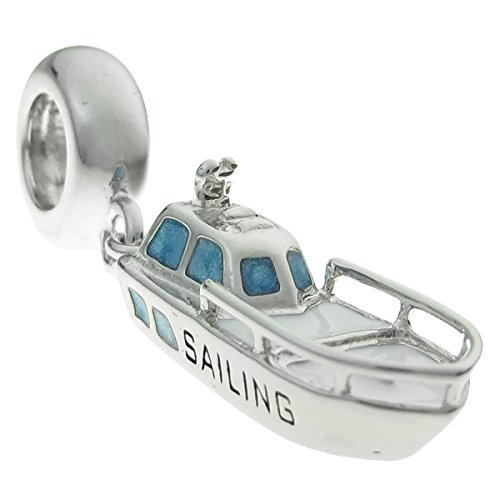 Queenberry Sterling Silver Sailing Ship Enamel European Style Dangle Bead Charm by Queenberry