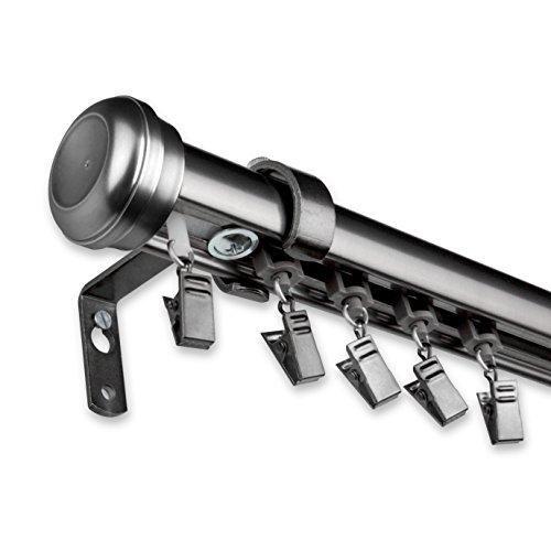 A&F Rod Decor - Alloy Cordless Traverse Rod 86-120 inch - Pewter