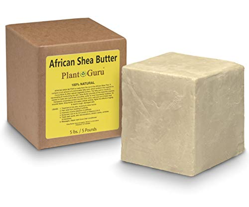 Raw African Shea Butter Bulk 5 lbs Block 100 Pure Unrefined Natural Ivory White From Ghana DIY Crafts, Body, Lotion, Cream, lip Balm, Soap Making, Eczema, Psoriasis And Aid Stretch Marks
