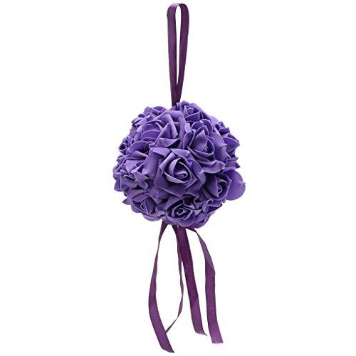 Rose Wedding Pew Bows - Kangnice Kissing Pomander Ball Rose Flowers Form Ball Pew Bows Wedding Party Supplies (Purple)