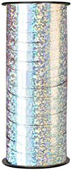 Healifty カーリングリボンロールメタリックストリングクラフトバルーンリボン(バレンタイン用)100ヤード(シルバー)