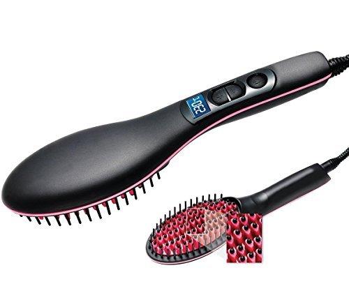 Haarglätter Bürste Glätten Elektrisch Haarbürste Glätteisen, Professionelle Anti Verbrühung Anti statisch Entwirren Haar Stylingkamm Digitaler Keramik seidige gerade Styling Massage Glätteisen