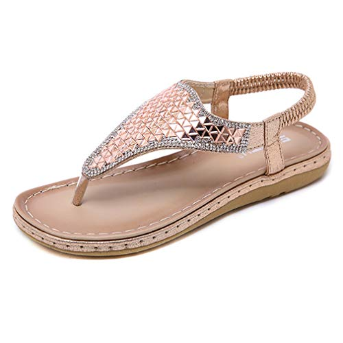 GIY Women's Summer Flat Sandals Fashion T Strap Rhinestone Bling Backstrap Beach Flip-Flops Sandal -