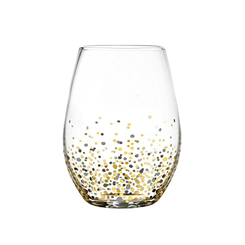 Fitz and Floyd 229709-4ST Confetti Black Stem less Glasses (Set of 4), Gold